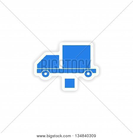 icon sticker realistic design on paper car freight logistics