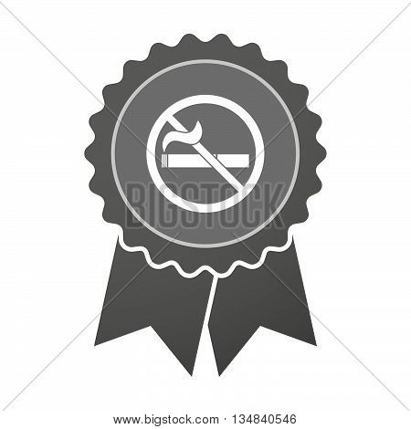 Isolated Award Badge With  A No Smoking Sign