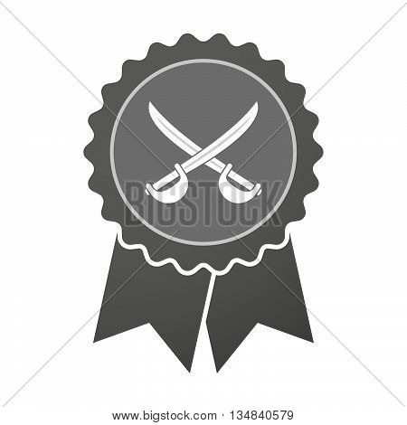 Isolated Award Badge With  Two Swords Crossed