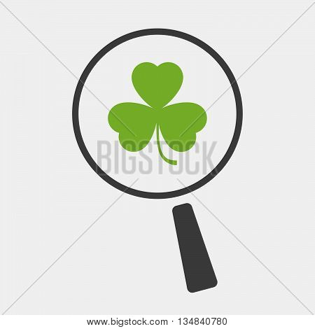 Isolated Magnifier Icon With A Clover