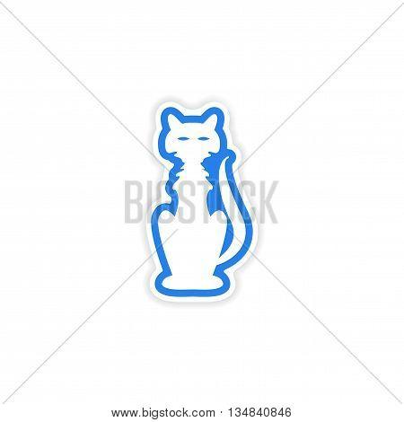 icon sticker realistic design on paper cat