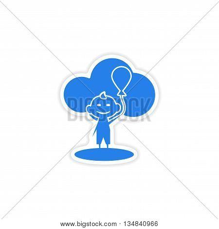 icon sticker realistic design on paper child balloon