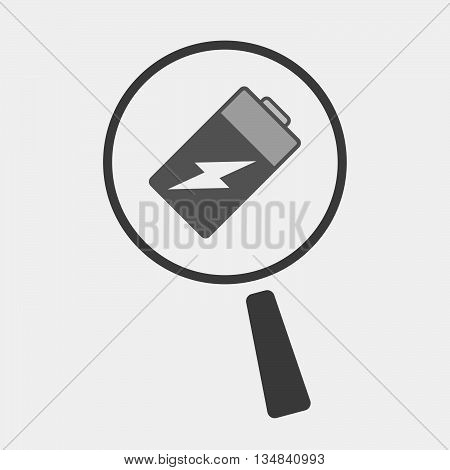 Isolated Magnifier Icon With A Battery