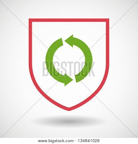 Isolated Line Art Shield Icon With A Round Recycle Sign