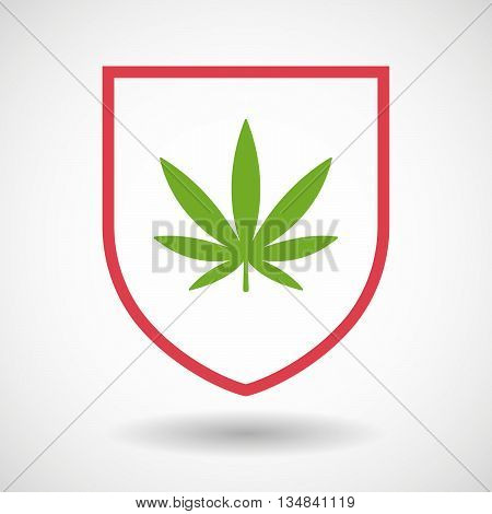 Isolated Line Art Shield Icon With A Marijuana Leaf