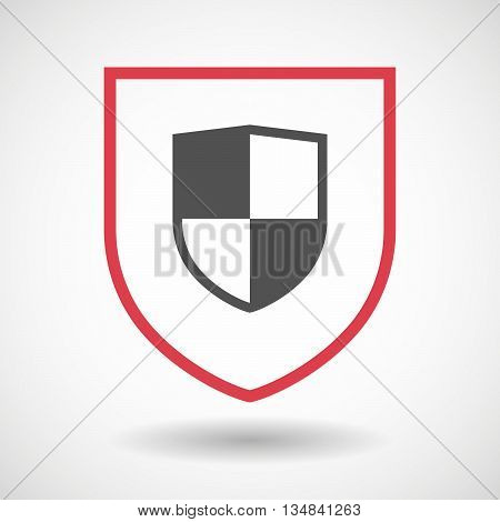 Isolated Line Art Shield Icon With A Shield