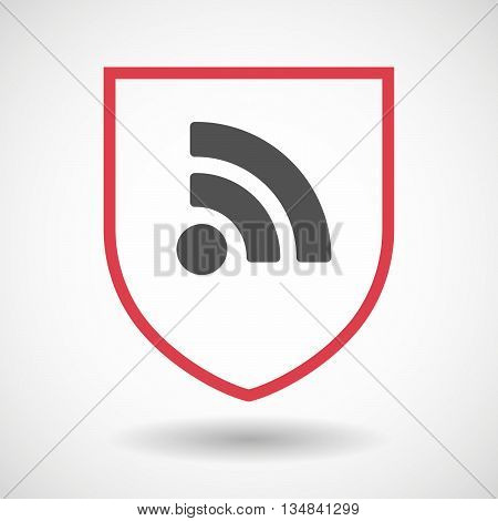 Isolated Line Art Shield Icon With An Rss Sign
