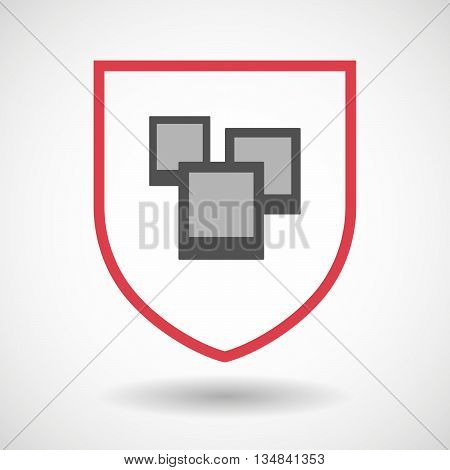 Isolated Line Art Shield Icon With A Few Photos