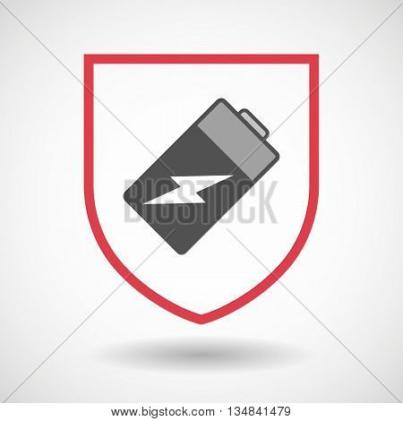 Isolated Line Art Shield Icon With A Battery