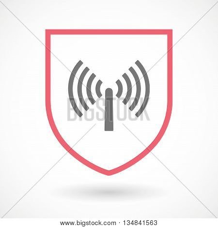 Isolated Line Art Shield Icon With An Antenna