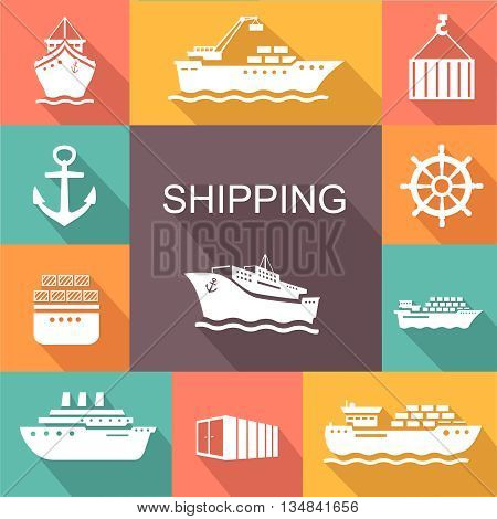 Set of transportation and shipping colored icons. Container, tanker, cargo in trandy flat style.  poster