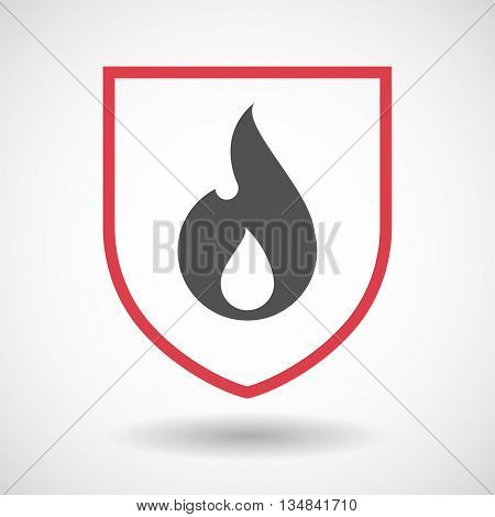 Isolated Line Art Shield Icon With A Flame