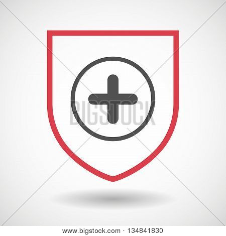 Isolated Line Art Shield Icon With A Sum Sign