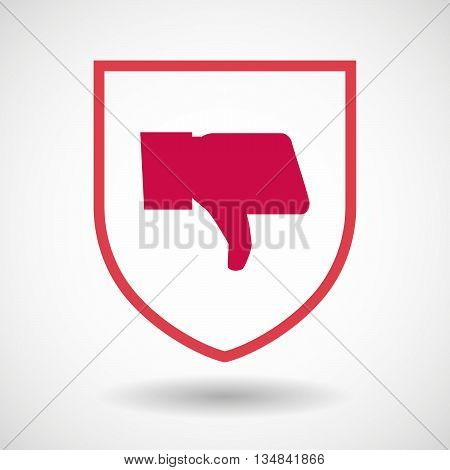 Isolated Line Art Shield Icon With A Thumb Down Hand