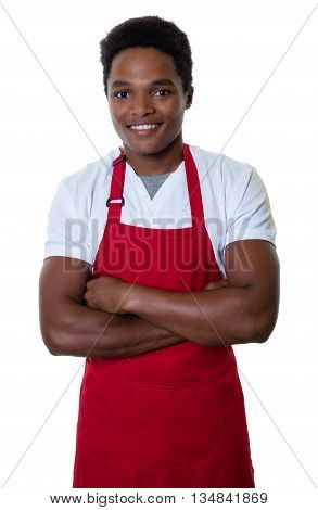 African american waiter with crossed arms on an isolated white background for cut out