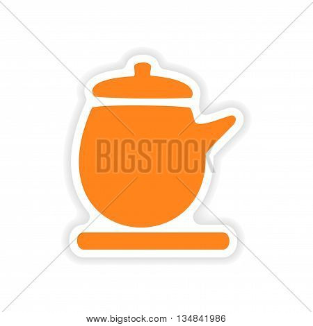 icon sticker realistic design on paper kettle