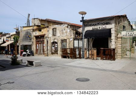 LIMASSOL (LEMESOS) CYPRUS - APRIL 23 2016: Square in Turkish quarter of old town.It's largest city of Cyprus in geographical size that holds around 176,900 people