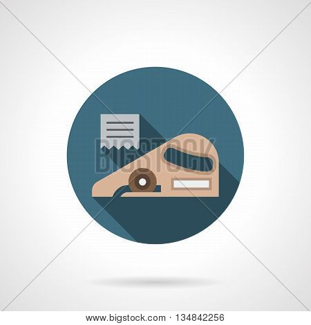 Linoleum cutting knife. Construction tools and instruments. Symbol for floor covering and renovation services. Round flat color style vector icon.