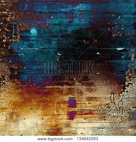 Old grunge vintage background or shabby texture with different color patterns: yellow (beige); brown; blue; red (orange); purple (violet); black