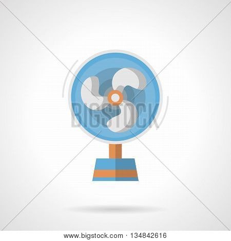 Portable electrical fan. Season appliances for home climate, cooling indoor air in summer heat. Household equipment. Flat color style vector icon.