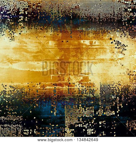 Vintage ancient background or texture with grunge decor elements and different color patterns: yellow (beige); brown; blue; black; white
