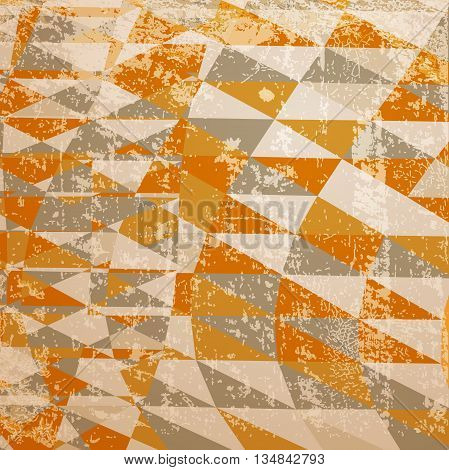 Geometric background with triangles. Retro style with grunge effect. The illustration contains transparency and effects. EPS10