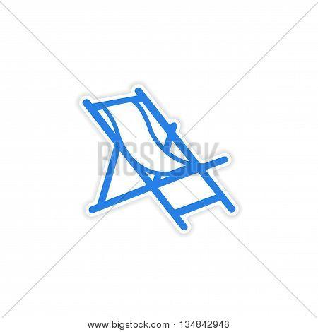 icon sticker realistic design on paper deck chair
