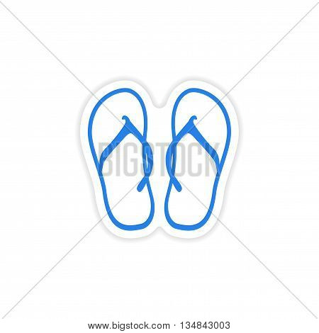 icon sticker realistic design on paper beach flip flops