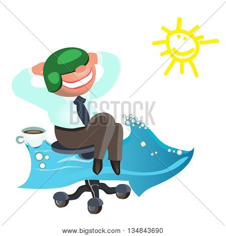 Businessman dreams as soon as possible to go on vacation to the sea.vector