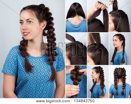 Hair tutorial. Hairstyle volume braids tutorial. Backstage technique of weaving plaits. Hairstyle. Tutorial