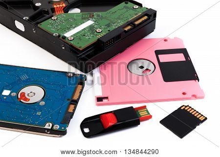Computer storage devices. Storage hardware isolated on white background.