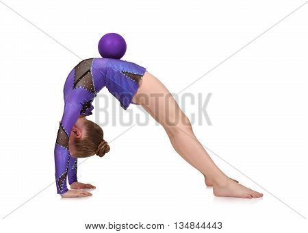 Girl In Blue Clothes Doing Gymnastics