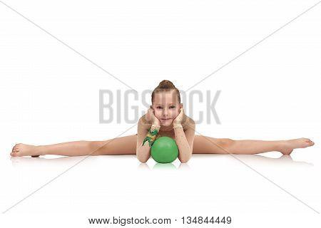 Gymnast Sitting On Split With Ball