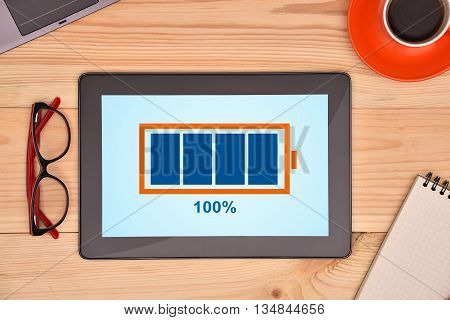 Tablet And Battery With Level Indicator