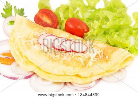 Omlette with the fresh vegetables isolated on white