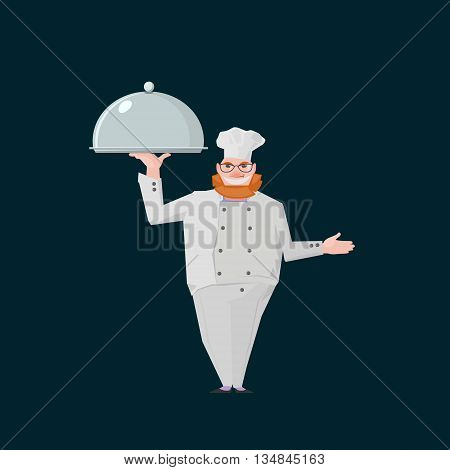 business illustration with redhair chef standing with metal salver