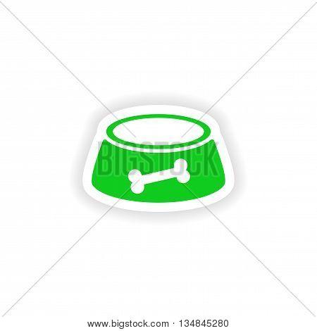 icon sticker realistic design on paper dog bowl