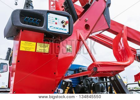 RUSSIA MOSCOW - May 31 2016: exhibits and construction equipment naInternational Specialized Exhibition of Construction Equipment and Technologies at Crocus Expo