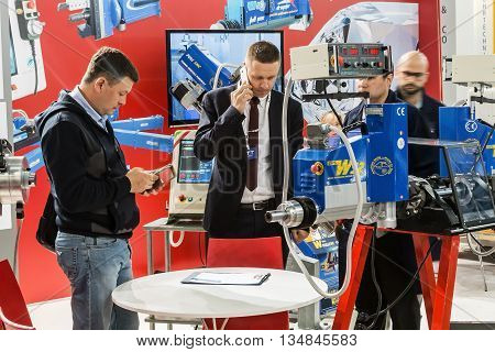 RUSSIA MOSCOW - May 31 2016: Visitors and exhibitors visiting the stands and exhibits at the International Specialized Exhibition of Construction Equipment and Technologies at Crocus Expo