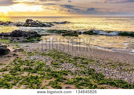 Sea Shore With Stones After The Storm