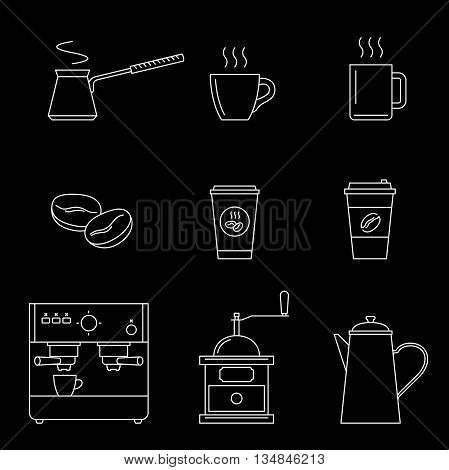 Coffee line icons on black background. Vector thin icons coffee machine, cups, coffee beans and coffee pots.