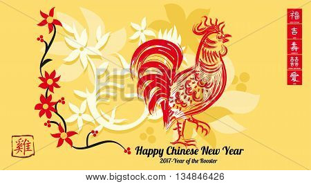 Chinese New Year Greeting Card The Chinese Calligraphy translates to Rooster