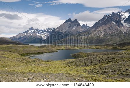 Panoramic view of Torres Del Paine National Park Patagonia Chile