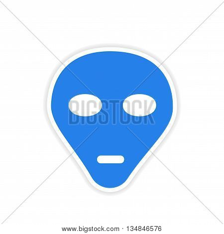 icon sticker realistic design on paper extraterrestrial