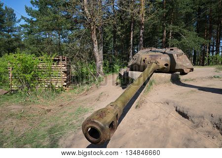 SAINT PETERSBURG, RUSSIA - MAY 15, 2016: Artillery tower installation, AFDS on the base of the tower tank is-4, sunny may day. The exhibition complex