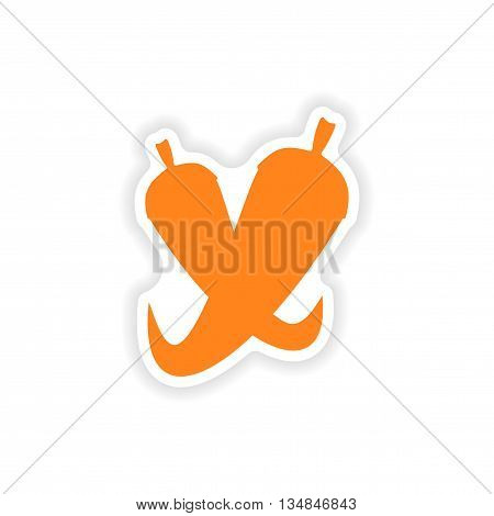 icon sticker realistic design on paper chilli
