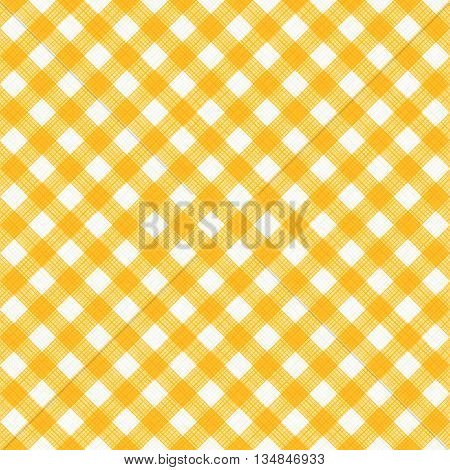 Seamless (you see 4 tiles) yellow and white diagonal gingham background