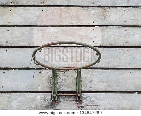 Wooden old basketball backboard on the street