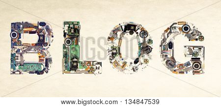 The Word Blog Made from electronic letters