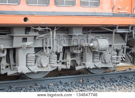 Red orange train Diesel locomotive Industrial rail car wheels